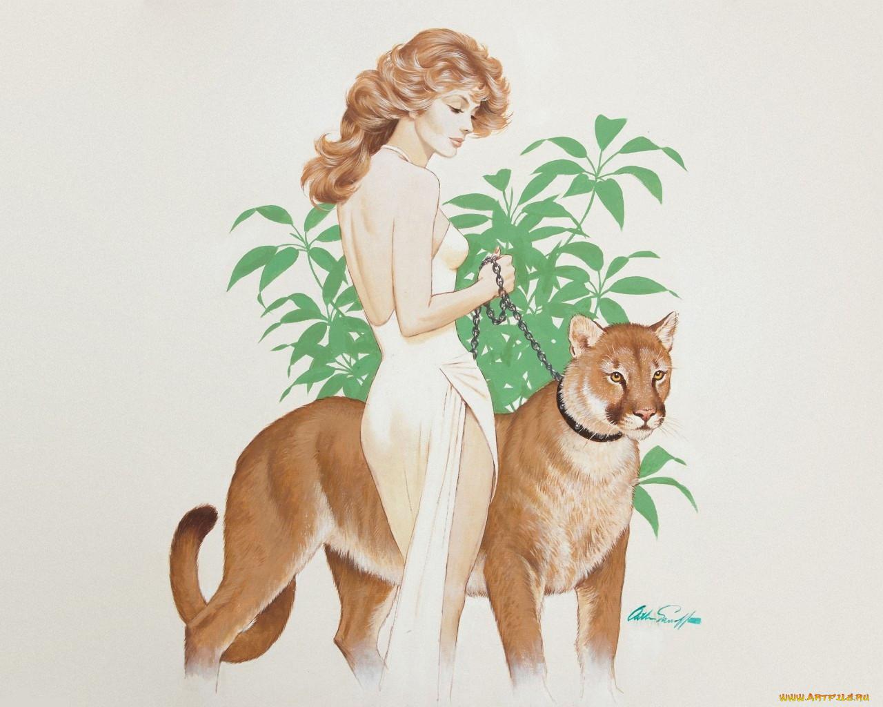 Человек с животными рисунки